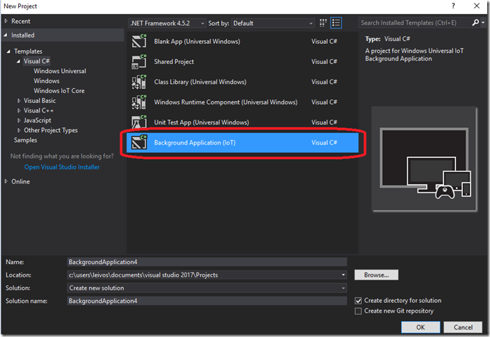 Visual Studio Background Application IoT